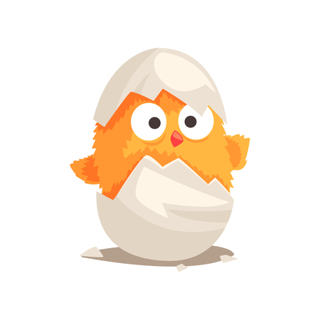 Funny yellow newborn chicken in broken egg shell. Baby animal hatching from egg. Little creature life. Flat cartoon tiny pet character birthday. Cute cub emoji vector illustration isolated on white.