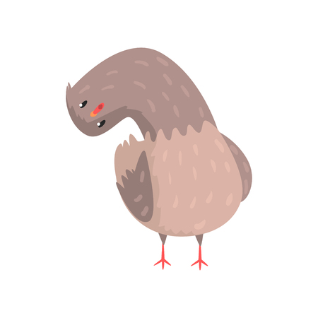 Funny dove standing with head tilting to one side, looks surprised and interested. Cartoon character of feathered animal. Emoji for social network, shirt print, card. Isolated flat vector illustration
