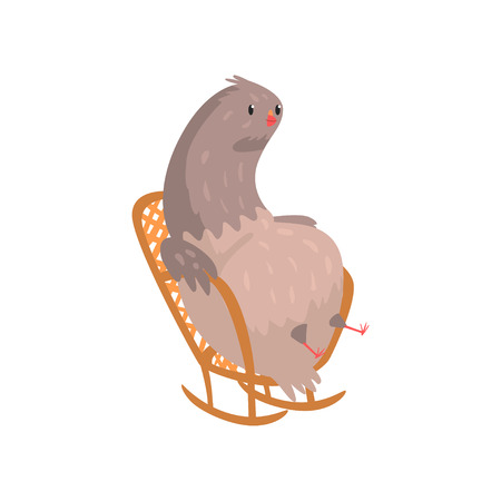 Fat dove sitting in rocking chair. Funny cartoon character of gray urban pigeon. Relaxing time. Flat vector illustration isolated on white background. Can be used for sticker, getting card or print.