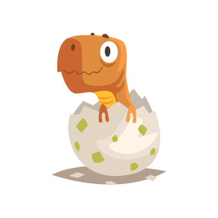 Funny newborn dinosaur in broken egg shell. Baby reptile hatching from egg. Little cub creature life. Extinct animals. Flat cartoon tiny pet character birthday. Cute emoji vector isolated on white.