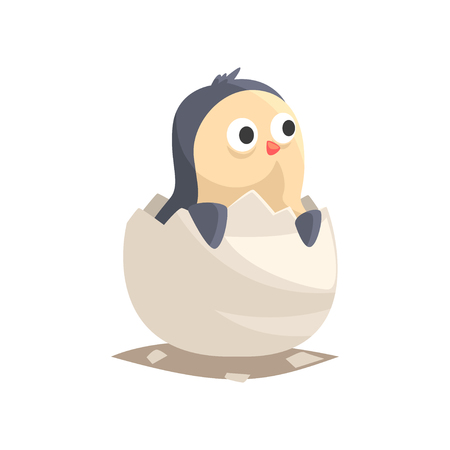 Adorable newborn penguin in broken egg shell. Baby aquatic bird hatching from egg. Little creature life. Flat cartoon tiny pet character with webbed feet and wings flippers. Emoji vector on white.