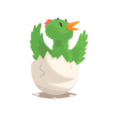 Grappige vogelbaby die van ei uitbroeden