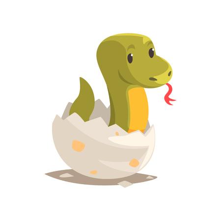 깨진 달걀 껍질에 만화 녹색 뱀 아기 스톡 콘텐츠 - 88928435