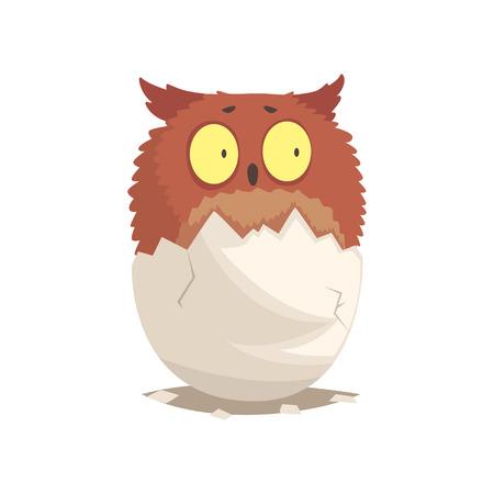 Adorable newborn brown owlet in broken egg shell Ilustração