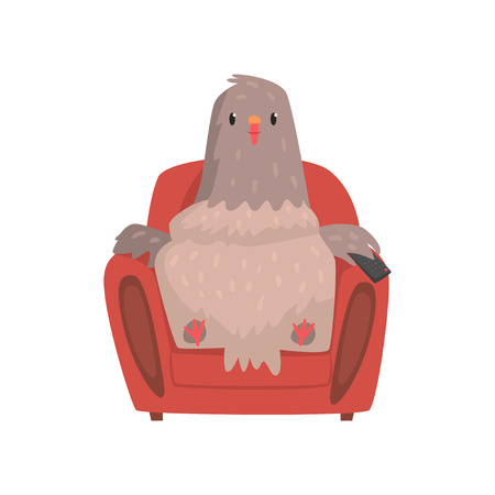 Funny pigeon sitting in red armchair with tv remote control in wing. Creative cartoon character of urban dove. Flat vector illustration isolated on white. Design for card, print or network sticker. Çizim