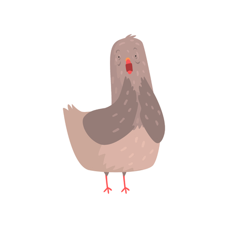 Scared dove standing isolated on white background. Emotional bird face. Cartoon character of urban pigeon. Flat vector illustration. Emoji for social network, shirt print, greeting card or poster. Illustration