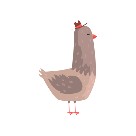 Intelligent dove in hipster hat standing on isolated white background. Creative cartoon character of town bird. Flat design vector illustration. Can be used for getting card, print or network sticker.
