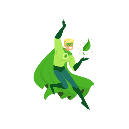 Bright cartoon character of eco superhero conjures a leaf. Man in costume, mask and green cape. Promotion of ecologically clean world. Modern flat design vector illustration isolated on white.