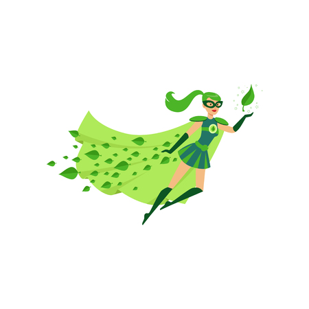 Flying eco superhero female in costume