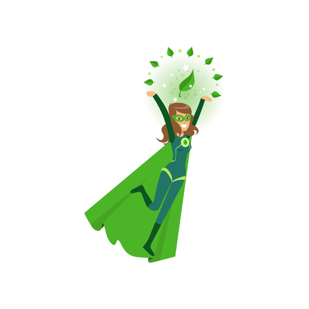Smiling eco superhero fly with hands up
