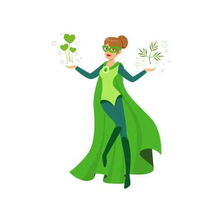 Vrouwelijke ecosuperhero met groene bladeren Stock Illustratie