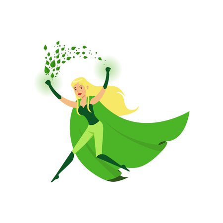 Cute eco superhero girl with super strength Illustration