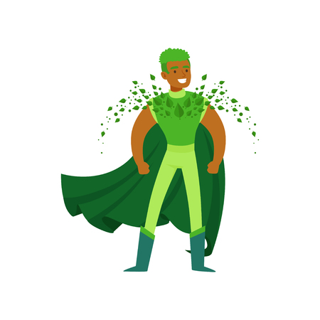 Black man superhero with supernatural powers in pose Illustration
