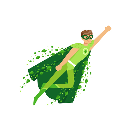 Superhéroe masculino en pose de vuelo con la mano arriba