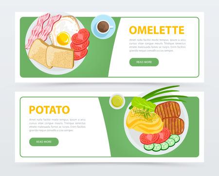 Bannersmalplaatje en schotels met verschillende ingrediënten Stock Illustratie