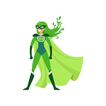 Green-haired girl superhero standing in proud pose