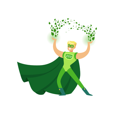 Illustration of eco superhero using his super powers