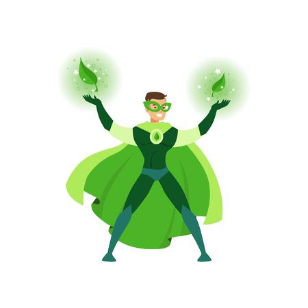 Apuesto eco héroe de la historieta posando con las manos en alto