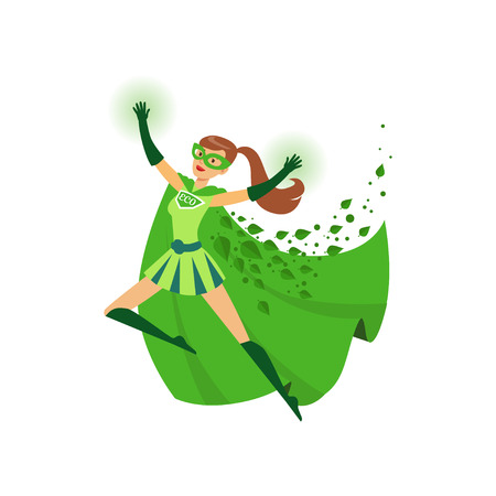 Illustration of superhero girl with hands up in action