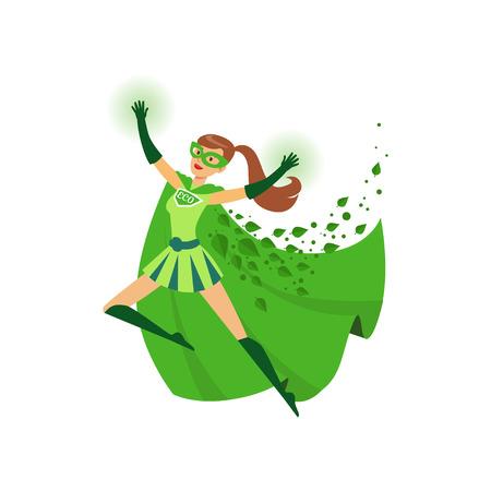 Ilustración de niña superhéroe con las manos arriba en acción