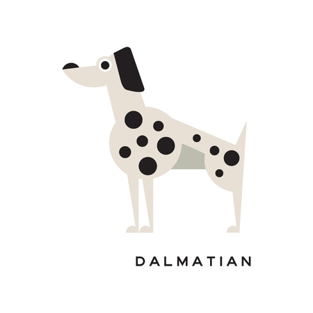 Cartoon dalmatian character icon isolated on white