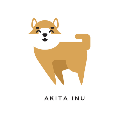 Cheerful cartoon akita inu character with happy muzzle