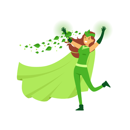 Beautiful woman eco superhero in costume, mask and green cape
