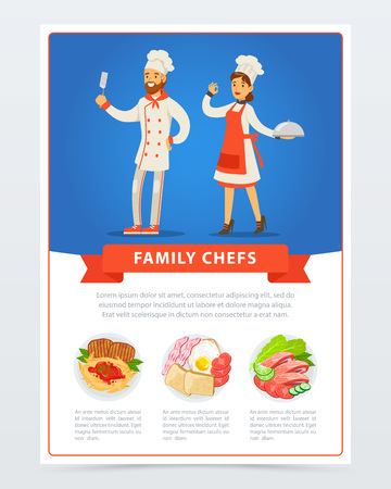 Family chefs in kitchen uniform and menu with different dishes