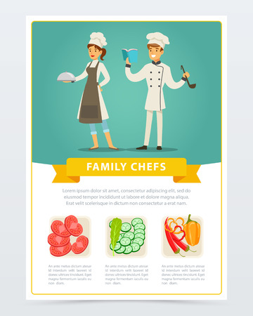 Flat poster with family chefs of vegetarian cuisine Illustration