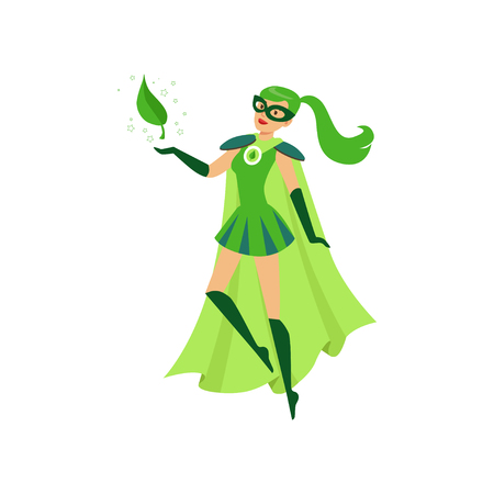 Beautiful eco superhero girl soar in air