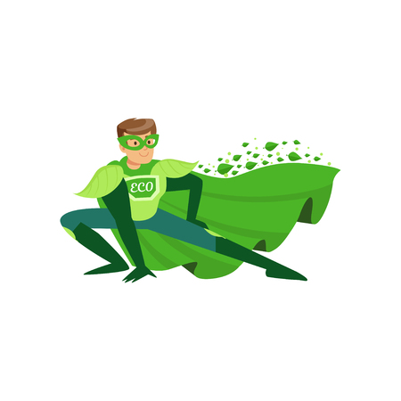 Colorful flat illustration of eco superhero in pose