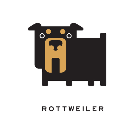 Flat cartoon rottweiler character standing isolated on white background