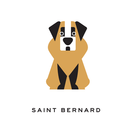 Cartoon saint bernard dog character in flat style