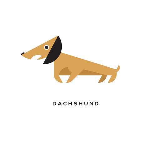 Cartoon brown dachshund puppy character icon Illustration