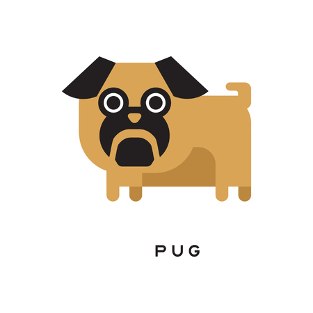 Cartoon brown pug puppy with short-muzzled face Ilustração