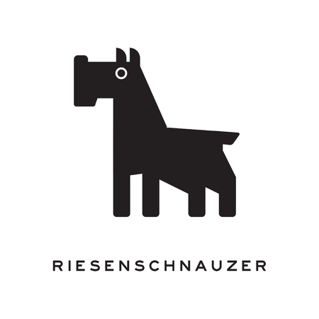 Black and white silhouette of riesenschnauzer