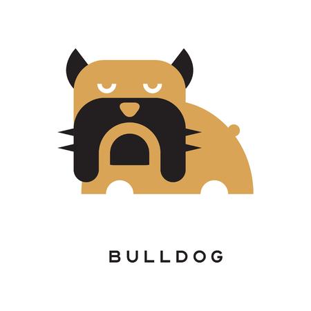 Flat vector illustration of bulldog with wrinkled face