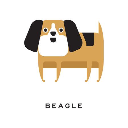 フラット スタイルで耳の長い小さな茶色のビーグル犬の子犬
