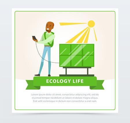 Concetto di stile di vita ecologico con l'uomo che usando l'illustrazione di vettore della batteria del sole. Archivio Fotografico - 89690464