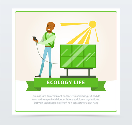 Ecological life style concept with man using sun battery vector illustration. Ilustração