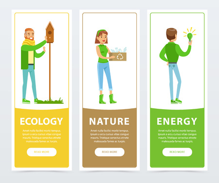 Ecological lifestyle banners with people volunteers activities vector illustration.