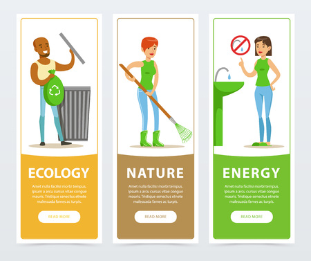 Ecological lifestyle banners with active people vector illustration.