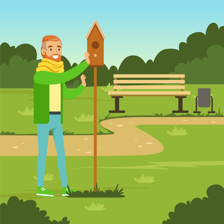 Smiling man character standing near birdhouse vector illustration. Ilustracja