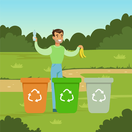 Ecological lifestyle concept with man throwing out garbage vector illustration.