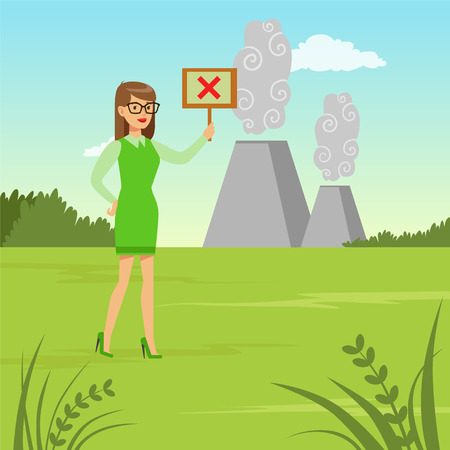 Ecological lifestyle concept with woman protesting against pollution vector illustration.