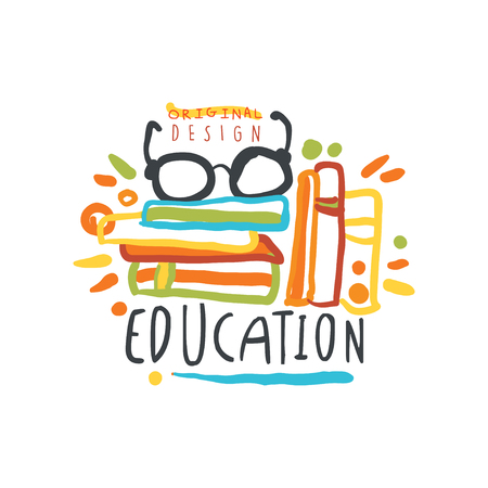 Education day logo original design with books and glasses vector illustration. Banco de Imagens - 89695729