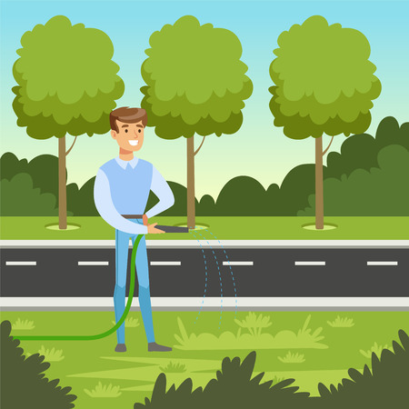 Eco life concept with man character watering plants vector illustration.