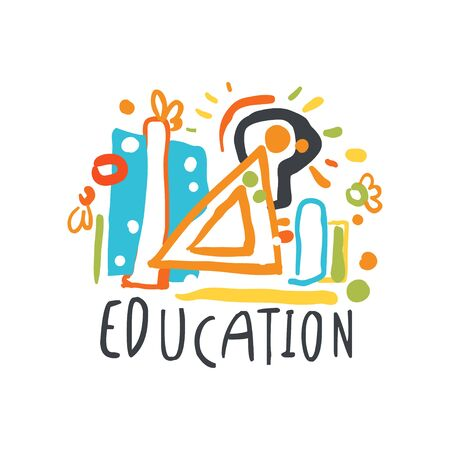 Education day label concept with educational supplies vector illustration.