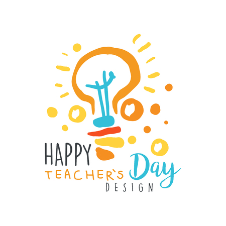 Happy Teachers Day card concept with electric lamp vector illustration. Banco de Imagens - 89695732