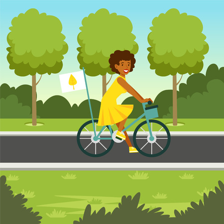 Ecological nature background with girl riding a bicycle vector illustration.